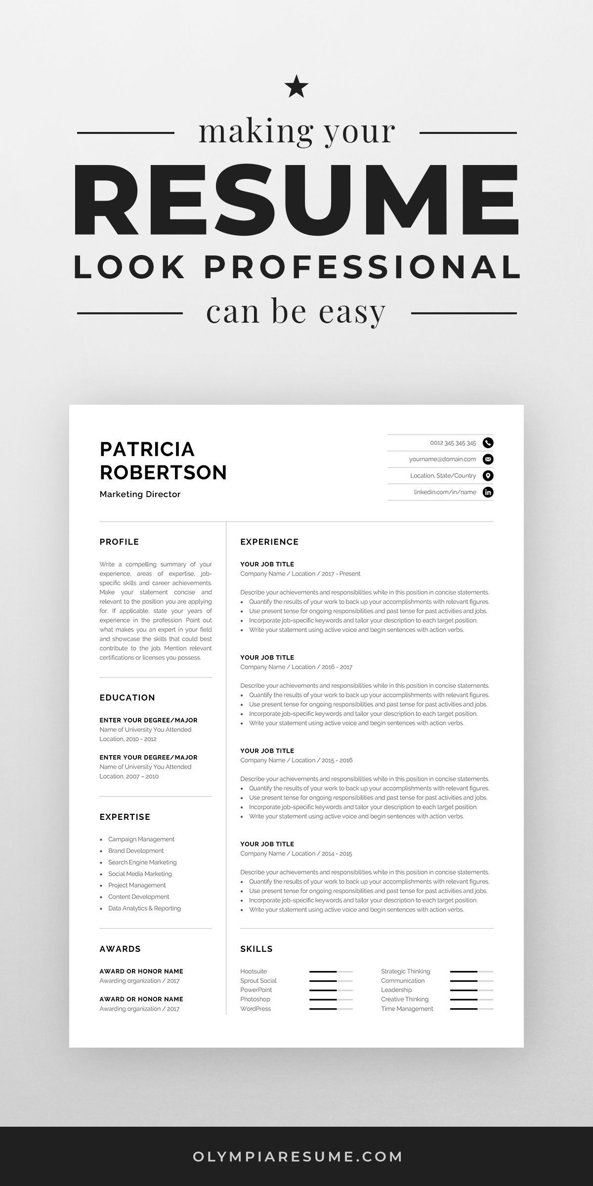 Professional 1 Page Resume Template Modern One Page CV
