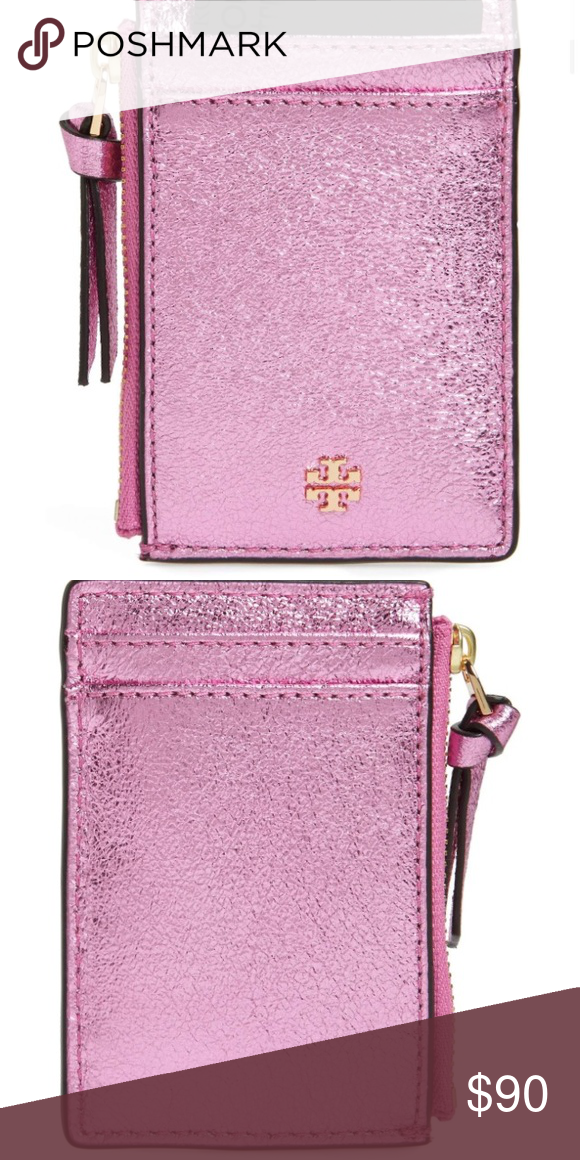 be6bbdb79ba8 NWT Tory Burch crinkle metallic card case Crinkled-finish metallic leather  adds luxe polish to a compact zip-top card case sized just right to hold  the ...