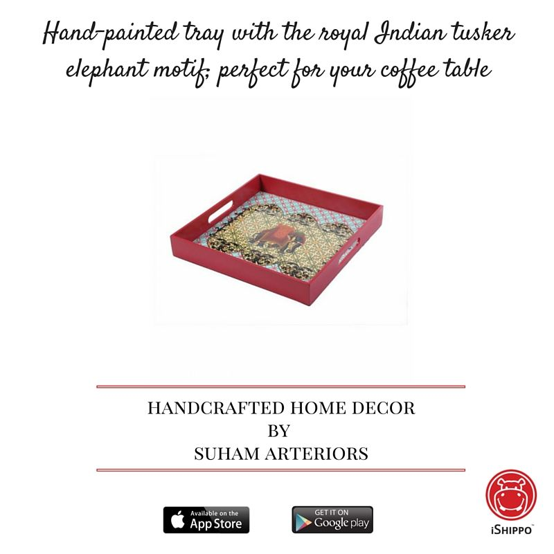 Hand Painted Tray With The Royal Indian Tusker Elephant Motif Perfect For Your Coffee Table Handcrafted Home Decor By Suham Arteriors On Ishippo