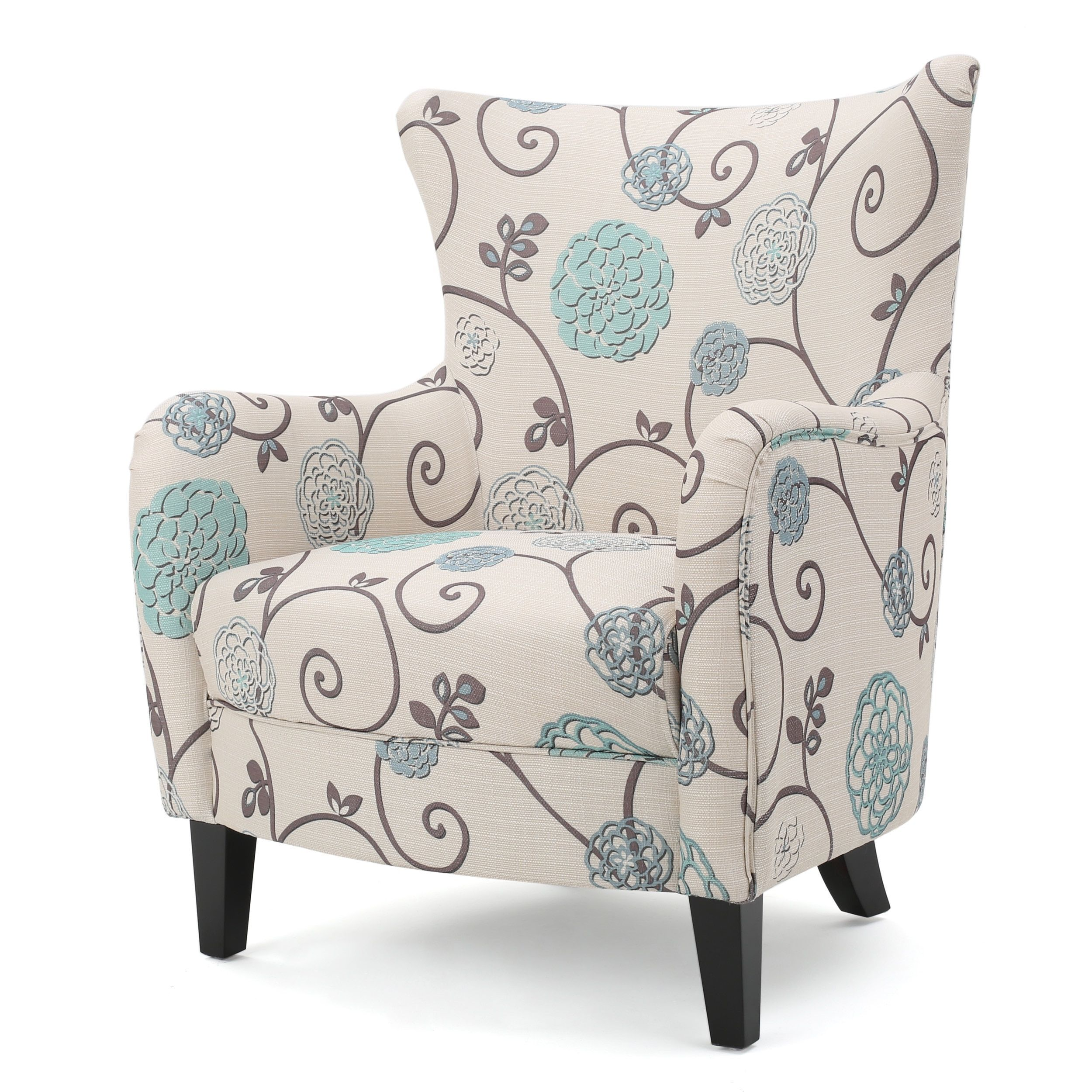 Arabella High-Back Floral Fabric Club Chair by Christopher Knight ...