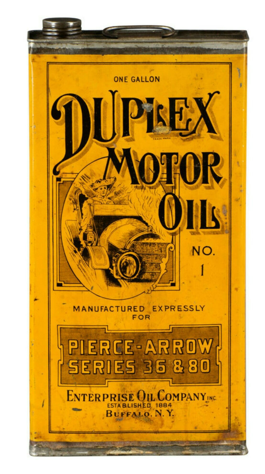 Rare Original Duplex Motor Oil Can 1 Gallon Pierce Arrow
