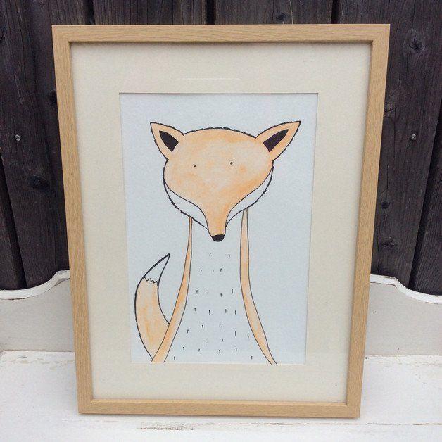 Kinderbild Fuchs Zeichnung Aquarell bunt