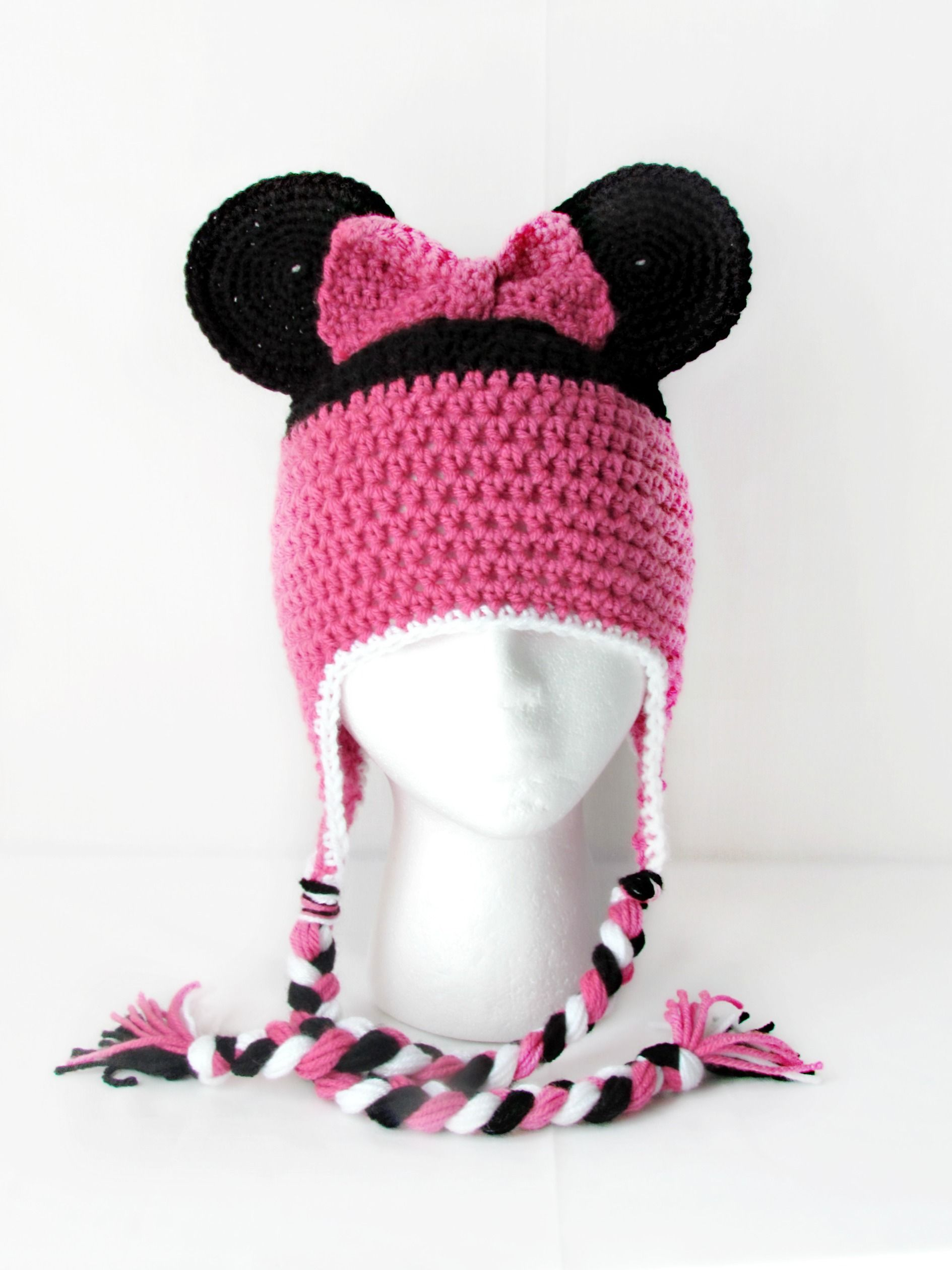 Crochet Minnie Mouse hat ~Cute | genny | Pinterest | Gorros, Tejido ...