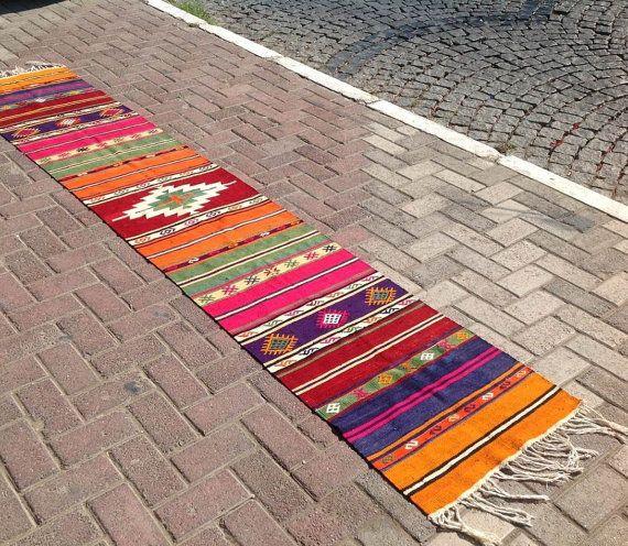 Kilim runner, Colorful Vintage Turkish kilim runner rug, aztec runner, runner rug, vintage kilim rug, bohemian runner rug, Turkish rug, rugs