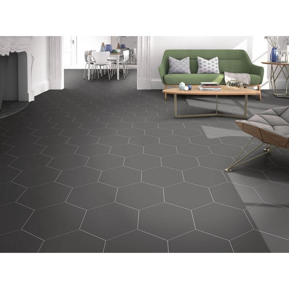 Opal Black Hexagon Porcelain Tile  Black floor tiles, Flooring