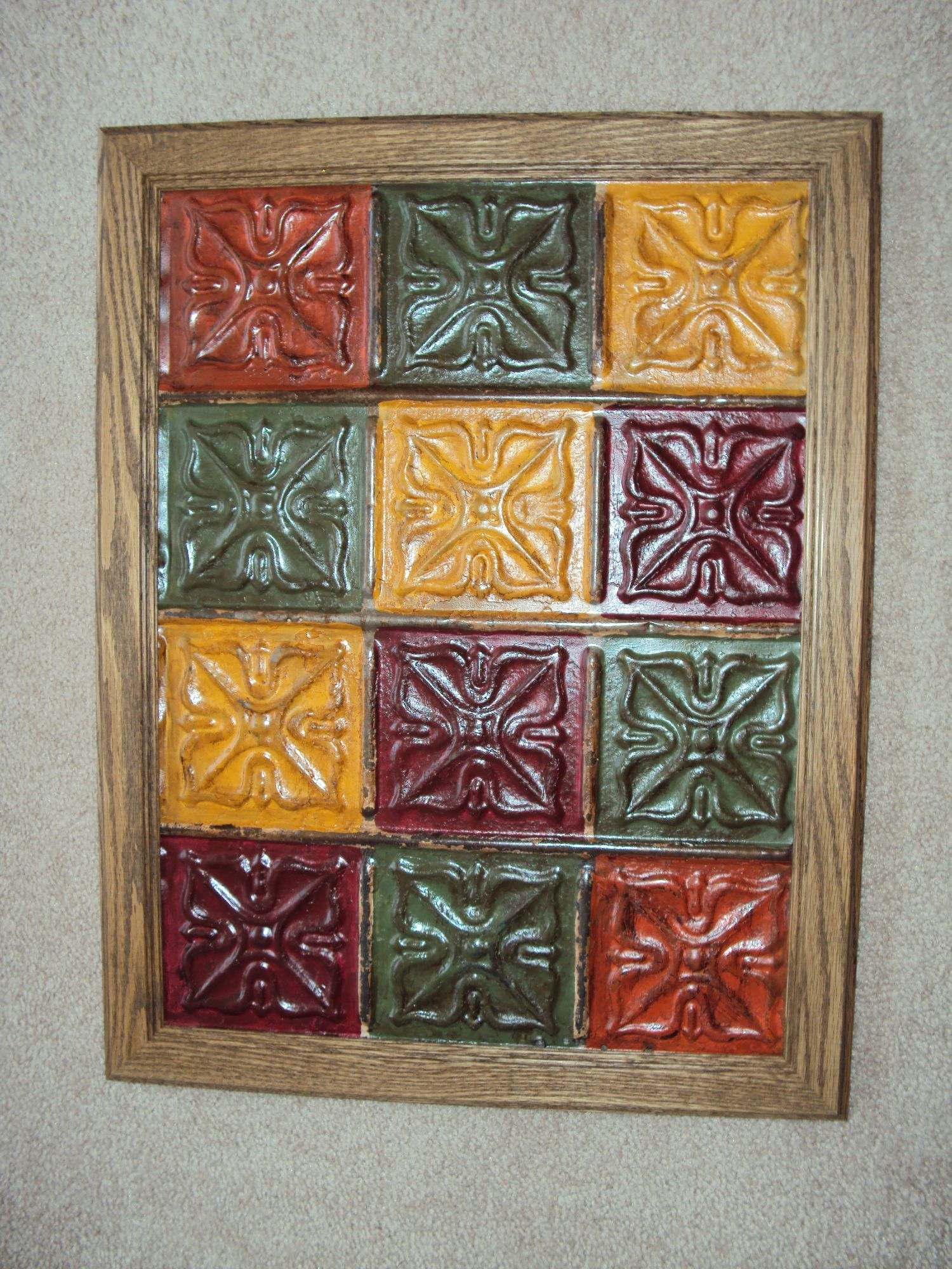 Old Tin Ceiling Tiles I Painted Sealed And Framed It Find Ideas On Facebook Flowers Lace Country Gifts