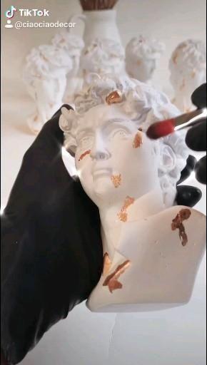Handmade David bust statue sculpture with gold det