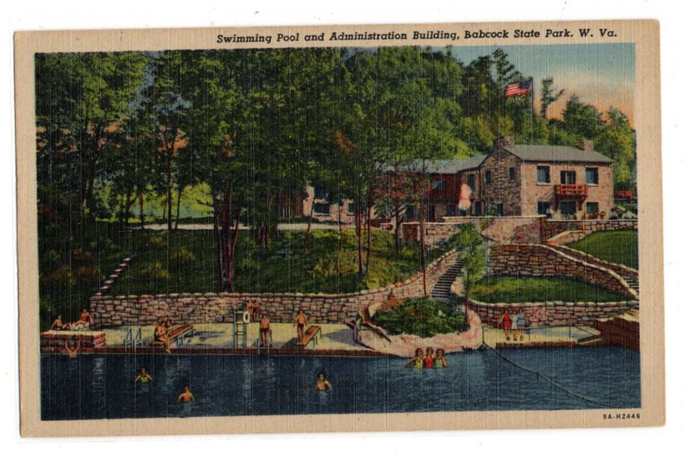 Swimming Pool Admin Building Babcock State Park WV vintage linen postcard unused