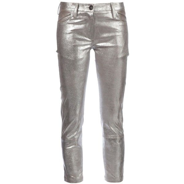 ANN DEMEULEMEESTER cropped leather trouser ($2,646) ❤ liked on Polyvore featuring pants, capris, cropped trousers, cropped pants, cropped leather pants, super skinny pants and genuine leather pants