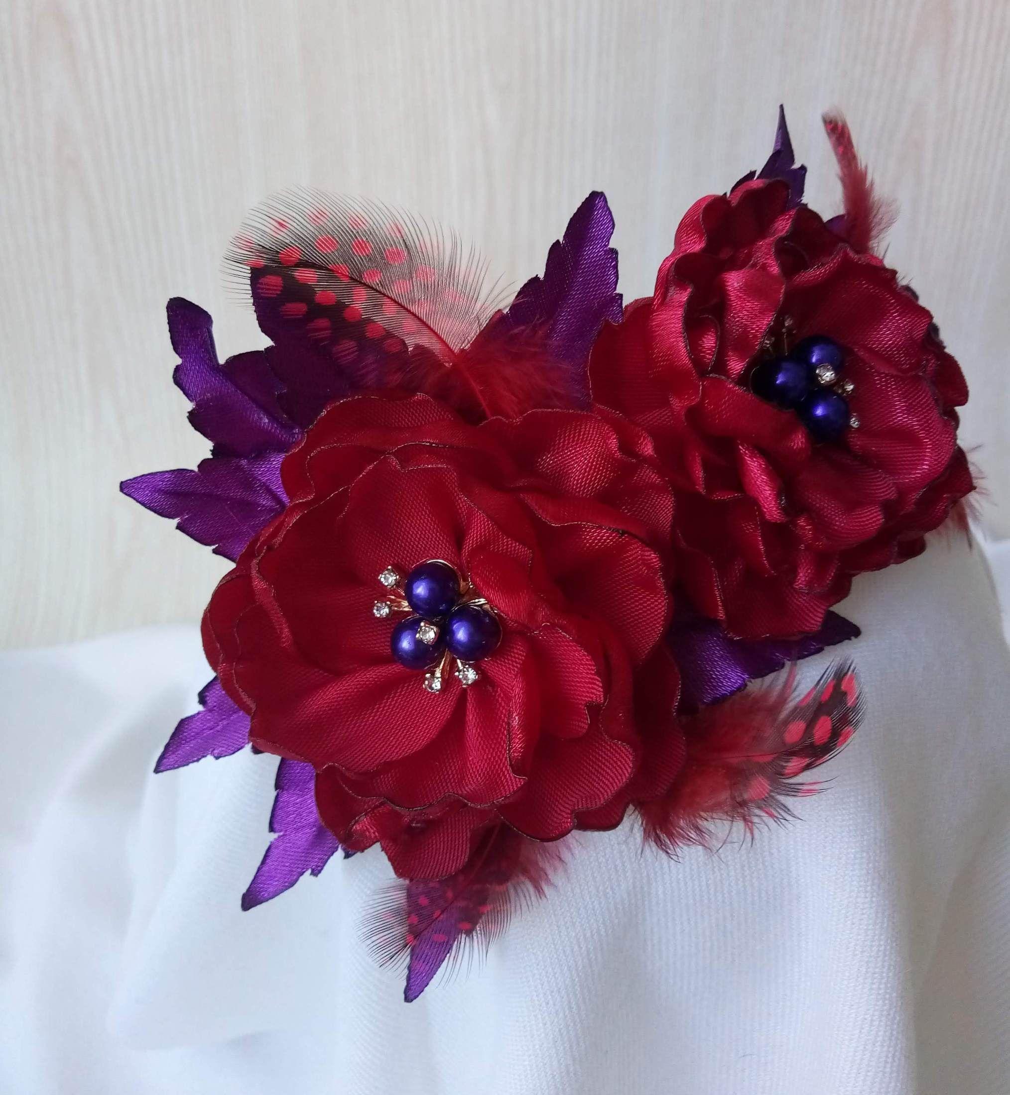 Flower Crown, Dark Red Rose, #fascinatorstyles