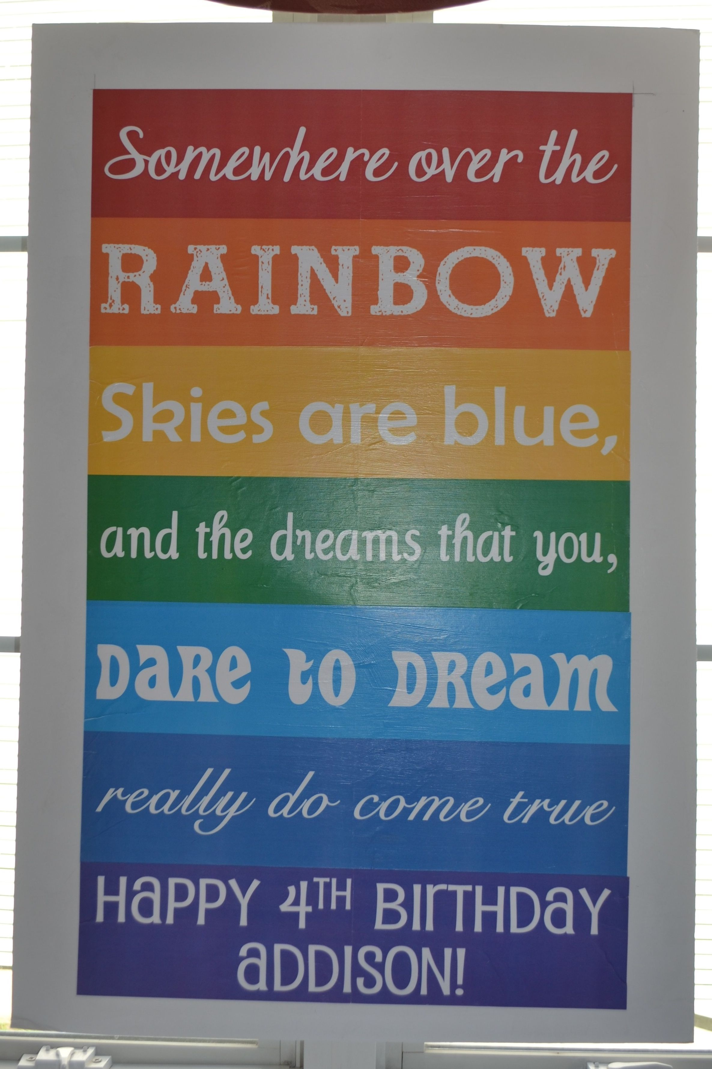 somewhere over the rainbow poster foam board each line printed