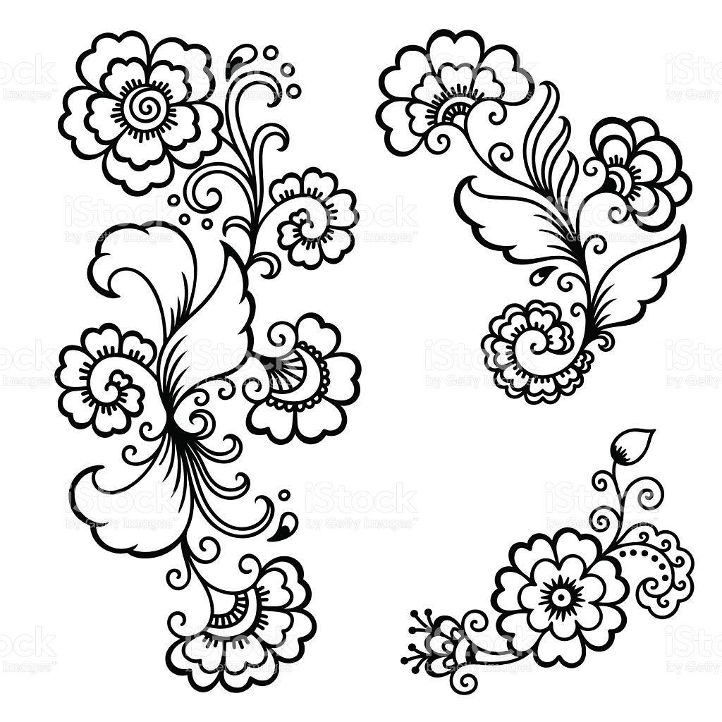 Henna Tattoo Blume Vorlage Mehndi Satz Stockvektor 3