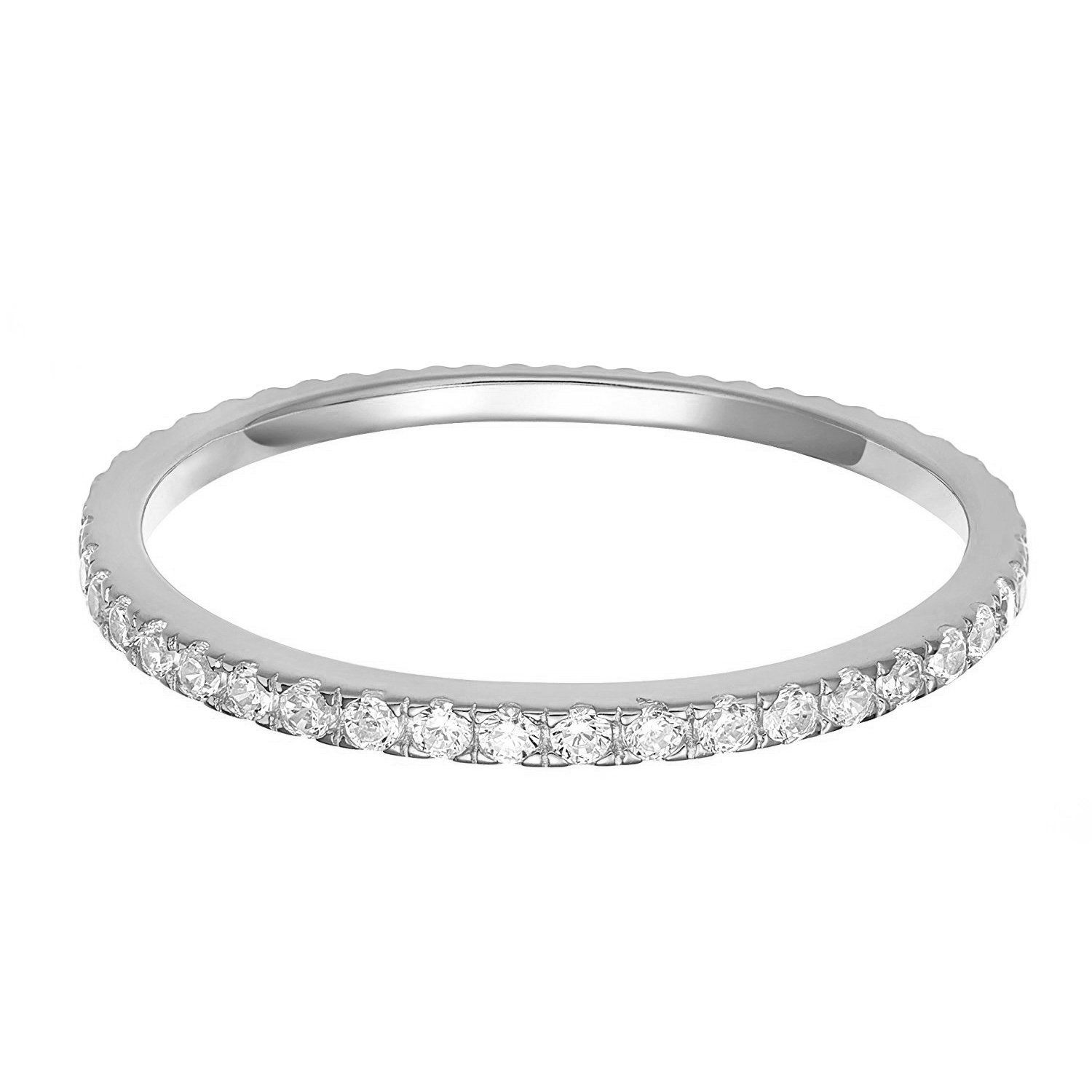 Fine Jewelry Personally Stackable Genuine White Topaz Sterling Silver Eternity Ring fiHt8A