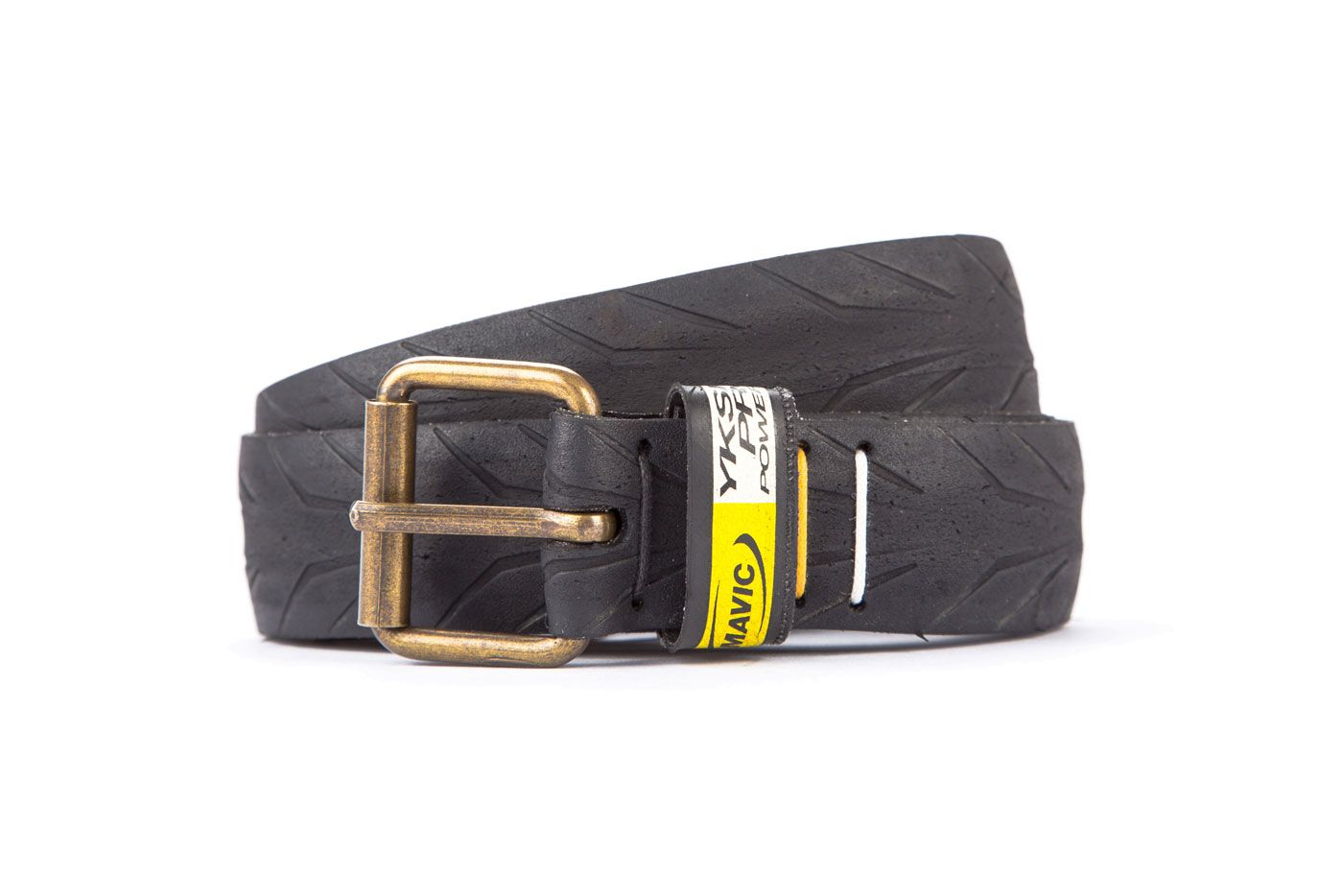 #2234 - Black belt from a spare race bicycle tyre, entirely handcrafted, iron branded and numbered. Belt loop obtained from Mavic tyre side. Strap folded up and stitched up with cotton colored strings.