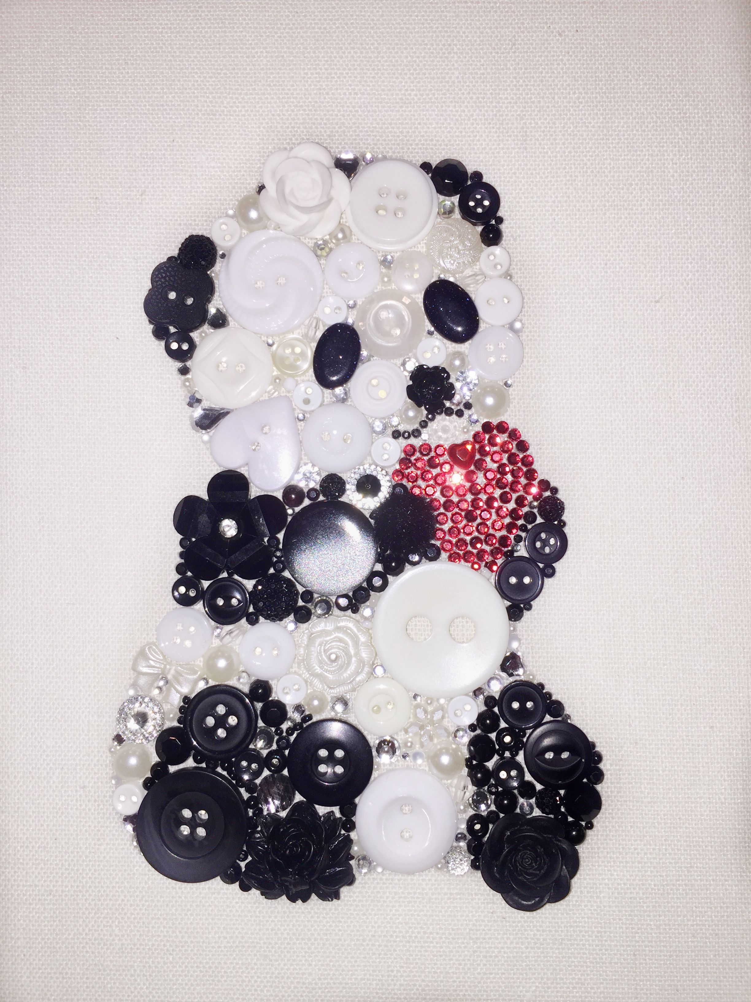 Panda Button Art 9x9 Canvas Wall Art Valentines Day T