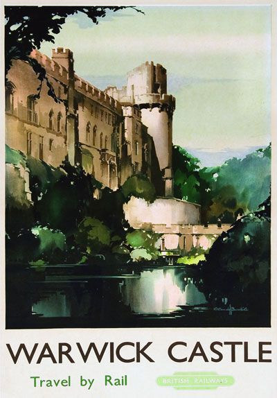 Details about TU1 Vintage Warwick Castle Railway Travel Poster ...