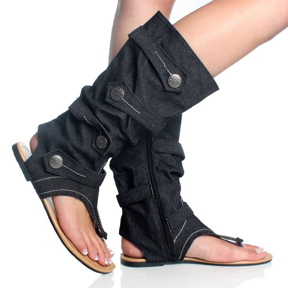 Black boot sandals - Jean Flip Flop Boots Denim Jean Open Toe Mid Calf Boot Flat Dress Sandal Womens
