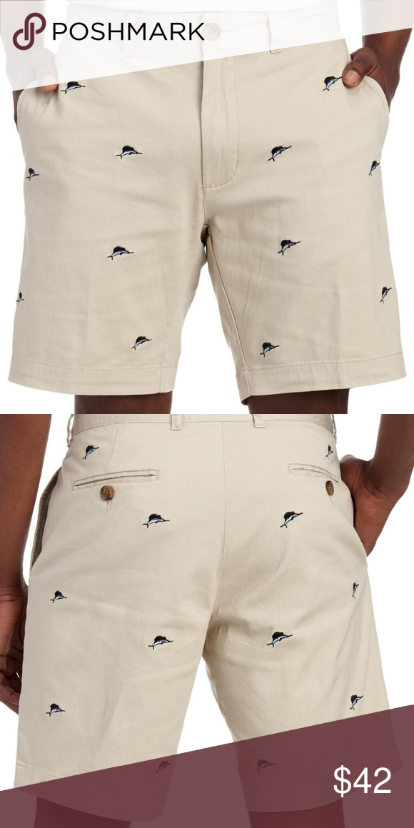 Flat Front Embroidered Sailfish Shorts