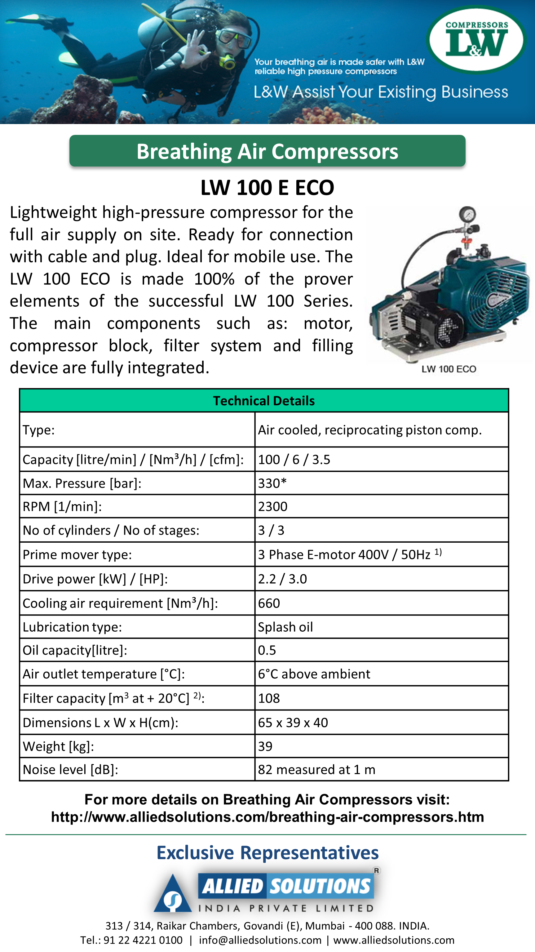 LnW Breathing Air Compressors LW 100 E ECO Allied