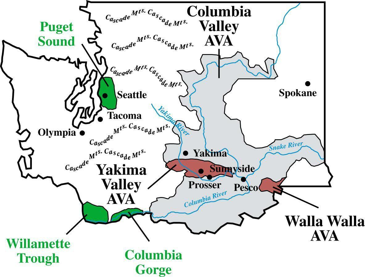 Washington State Wine Regions Map Washington State Wine Regions - Us map washington state