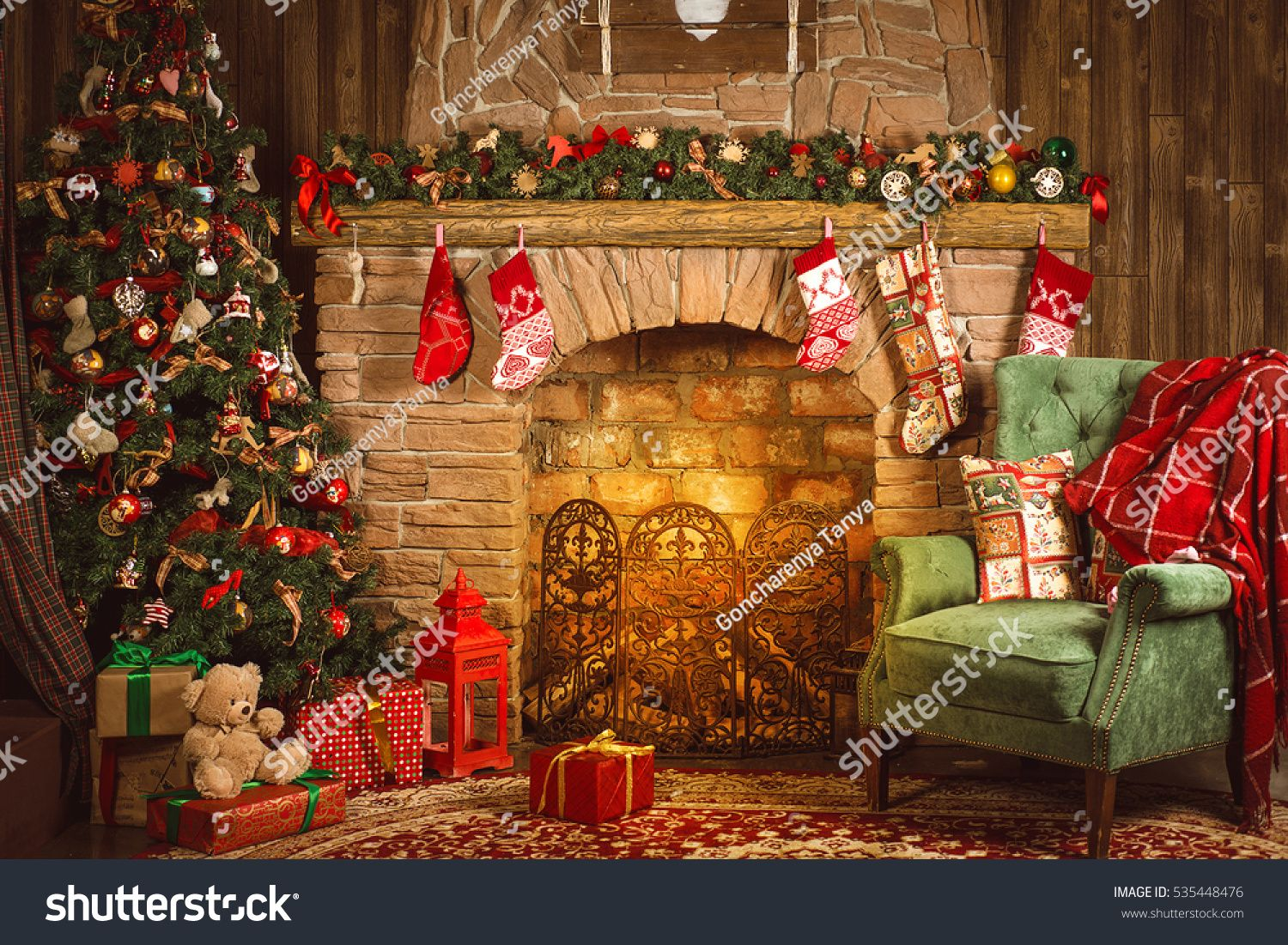 Christmas Interior Room Fireplace Christmas Tree Green Chair With A Red Blanket And Gif Christmas Interiors Merry Christmas And Happy New Year Christmas Tree