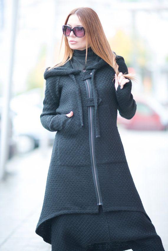 b95e76f4b9b Black Long Zipper Hooded Vest Long Kaftan Zipper by EUGfashion