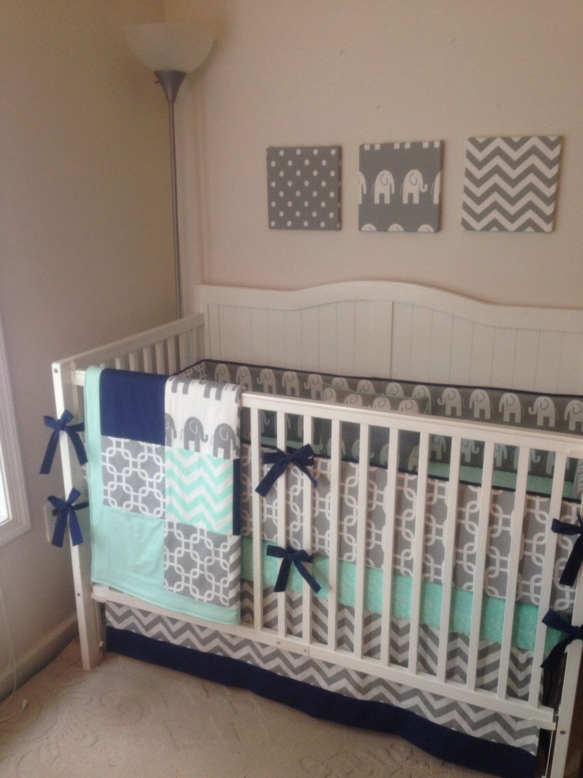 Crib bedding set gray white navy blue with by butterbeansboutique - Crib Bedding Set Gray Navy And Mint Elephant With Blanket Made To Order Deposit By Butterbeansboutique