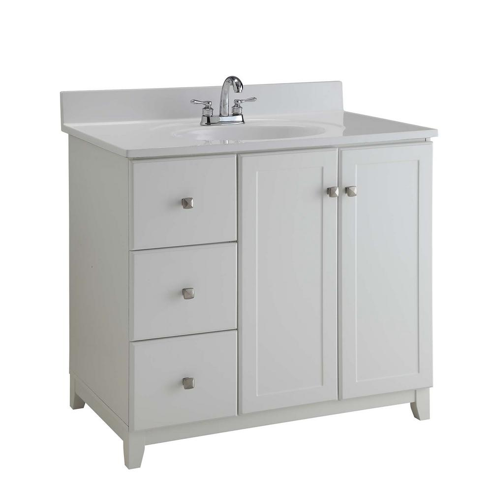 Design House Ready To Assemble 36 In X 21 In X 33 In Shorewood Shaker Style 2 Door 2 Drawer Vanity Cabinet In Semi Gloss White 547166 Bathroom Vanities Without Tops Bathroom Vanity Base Single Bathroom Vanity