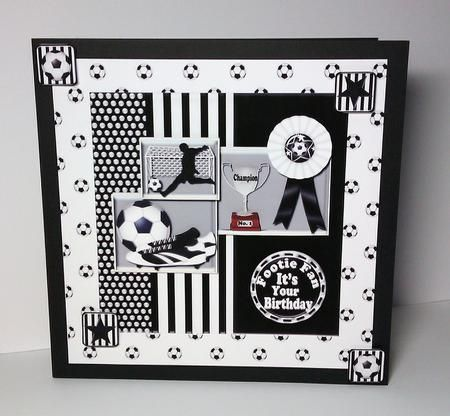 Black N White Football On Craftsuprint Designed By Janyce Cotterill Made By Lynda Tully I Printed Birthday Cards Diy Birthday Cards Birthday Cards For Men