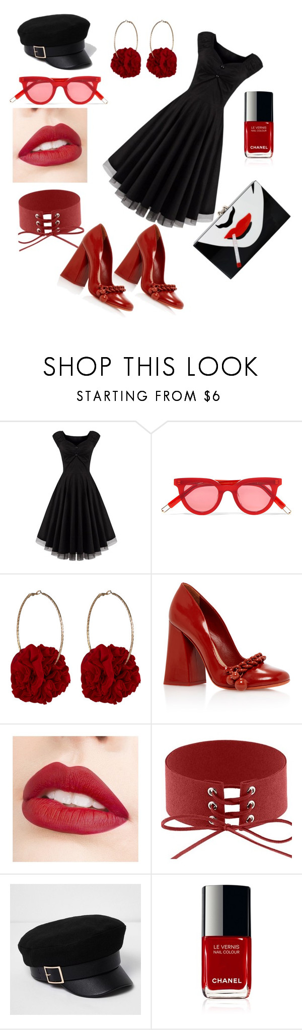 """red nd black"" by amalavijithomson ❤ liked on Polyvore featuring Gentle Monster, Vjera Vilicnik, Jouer, River Island and Charlotte Olympia"