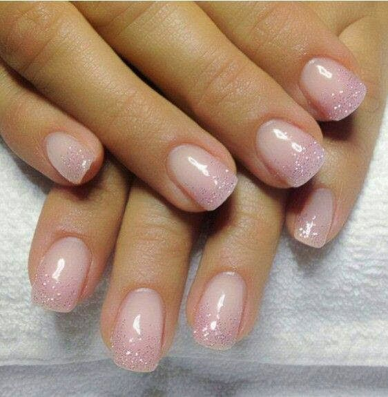 gel backfill with LED polish natural pink and silver sprinkle ...