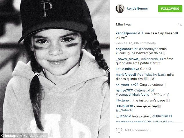 She wins again! Kendall Jenner's adorable throwback image of herself as a young girl has been named as the most-liked #TBT snap of 2015