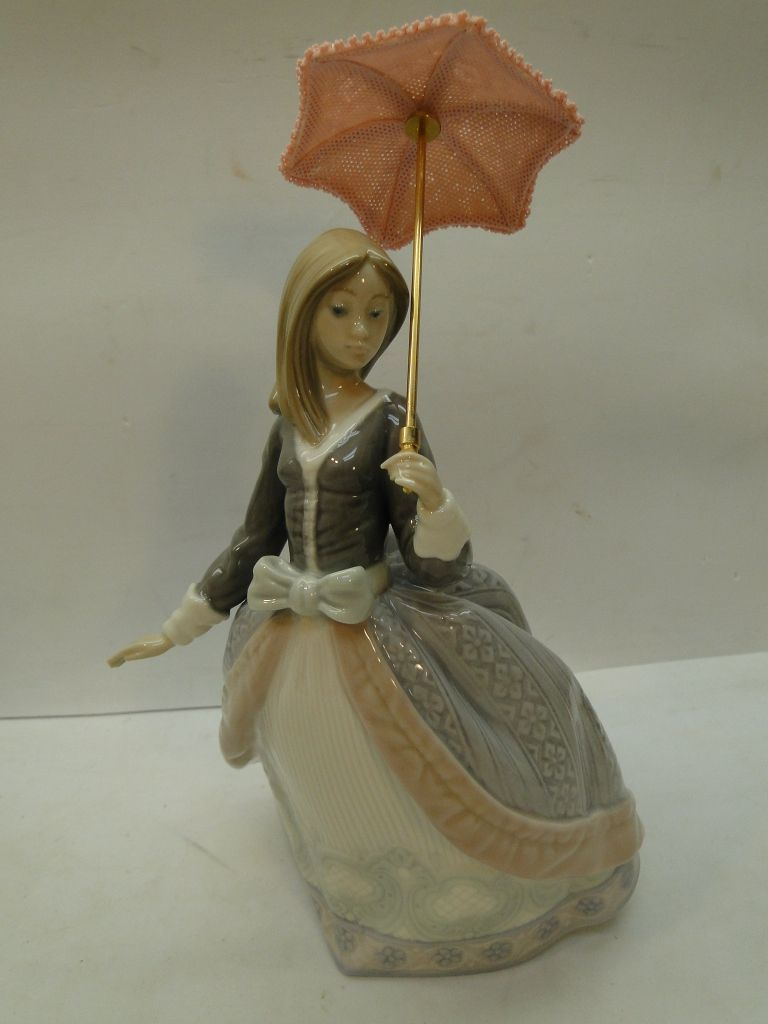 Lladro Figurine Porcelain Lady Angela Girl Parasol Umbrella 5211