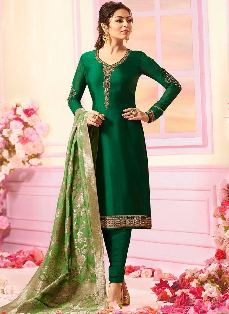 a04b1d561c Dark Green and Light Green Embroidered Georgette Churidar Suit in ...