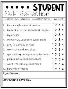 Student Self Reflection For Conferences Student Self Evaluation Student Self Assessment Teachers Classroom Management