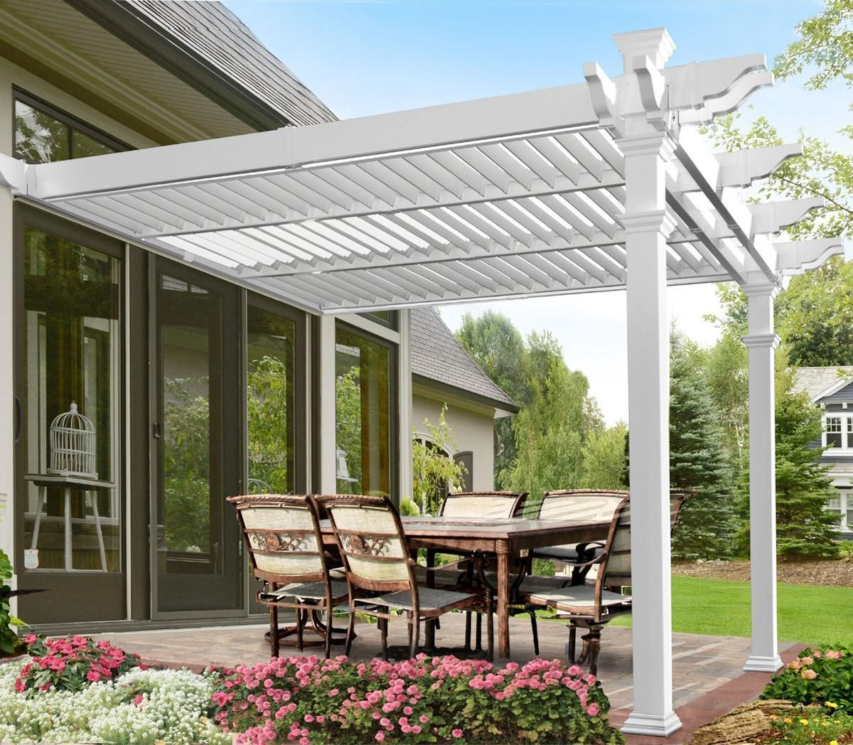 144 Inch W X 141 Inch D X 104 Inch H Elysium 12 X 12 Attached Louvered Pergola Louvered Pergola Backyard Pergola Pergola Patio