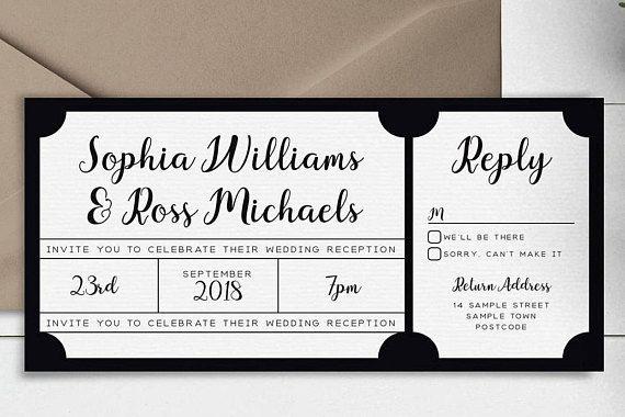Le billet de noir et blanc Style Invitation / / Suites dInvitation de mariage / / échantillon seulement / / imprimer des Copies ou imprimer vous-même / / #4010