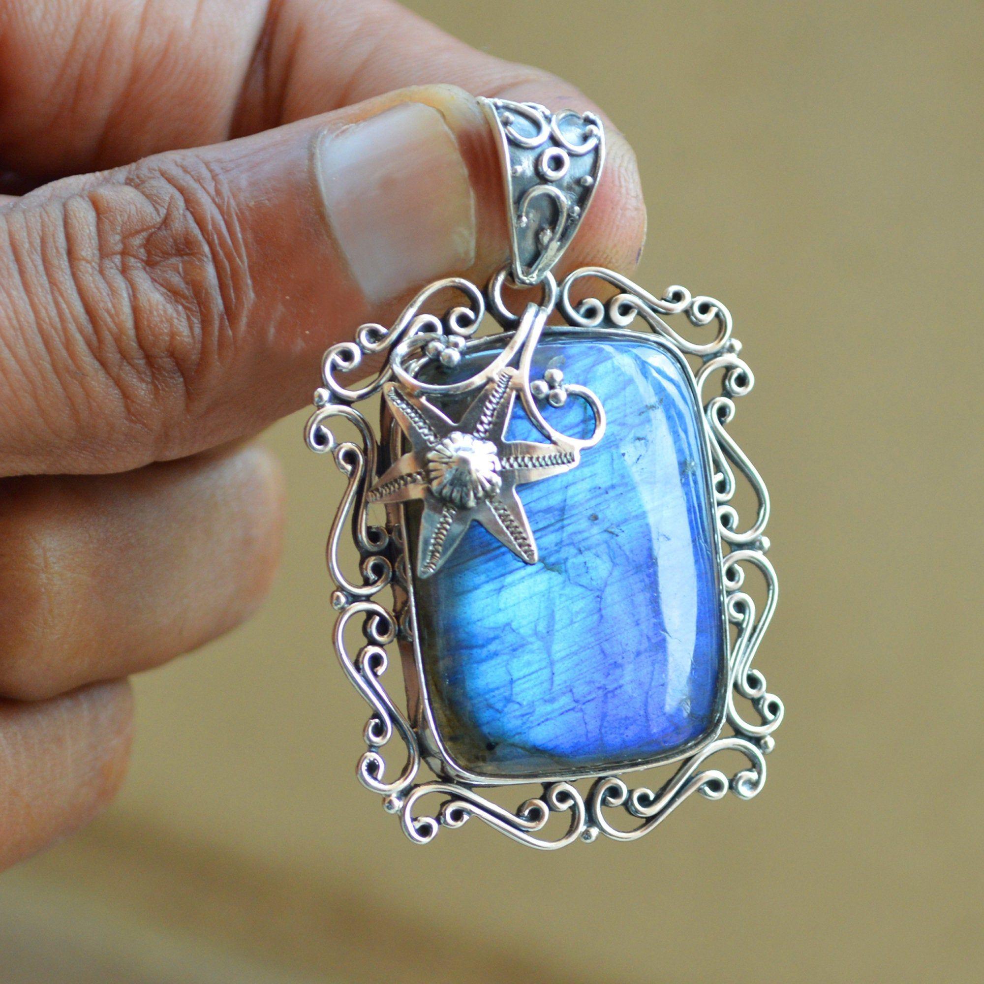 Natural Gemstone Pendant,Labradorite Necklace Blue Flash Labradorite Labradorite Necklace 925 Sterling Silver Silver Labradorite Necklace