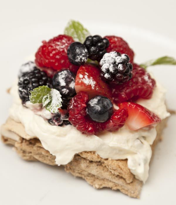 Coffee Meringue With Passion Fruit Cream And Summer Fruits
