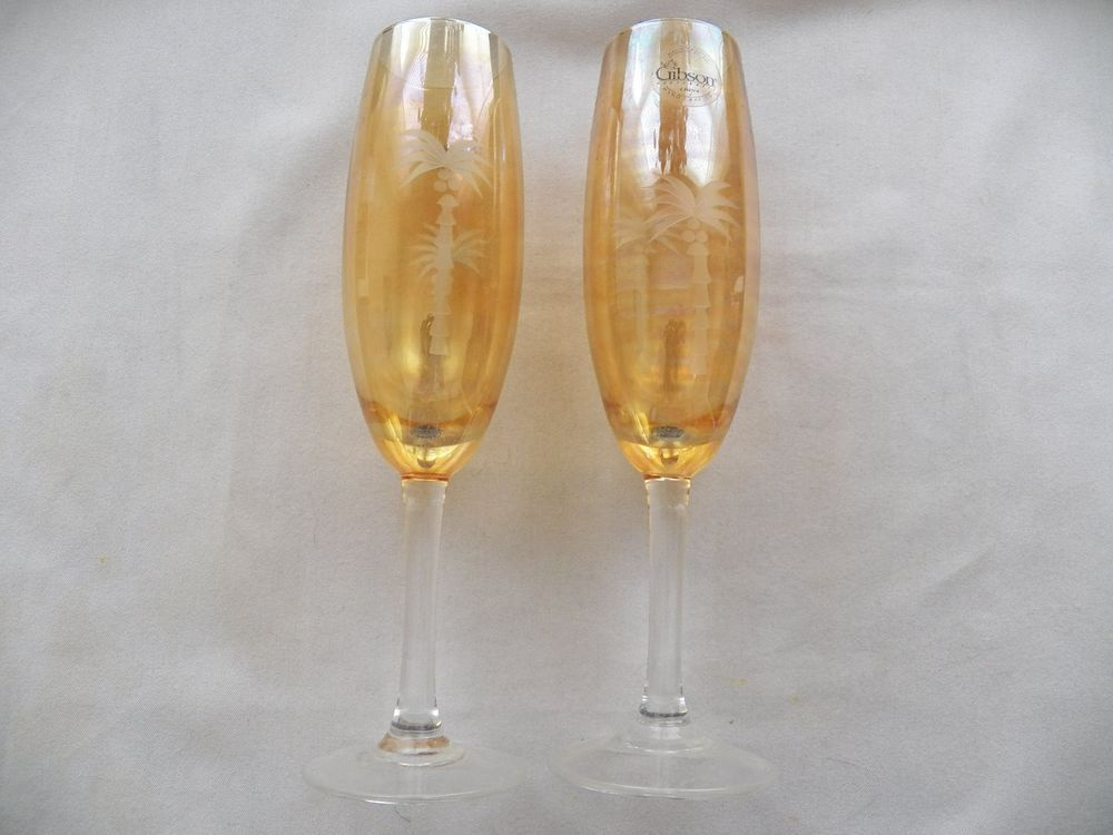 $10.00 Gold Tinted Gibson Champagne Flutes with Palm Trees (71315-1201) collectibles #Gibson