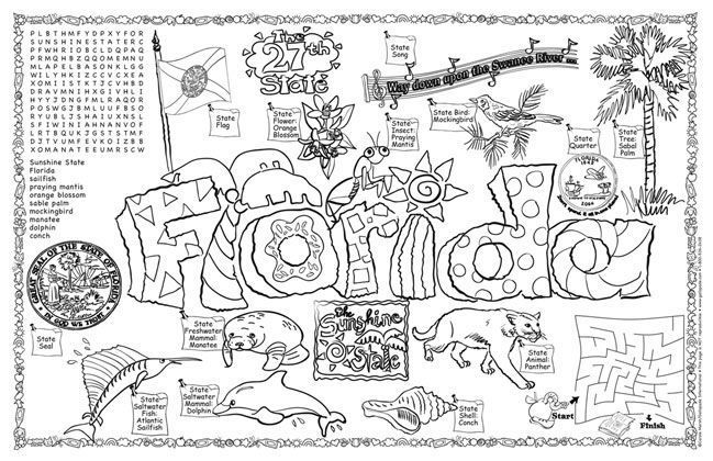Florida State Symbols Coloring Pages Florida Symbols Amp Facts