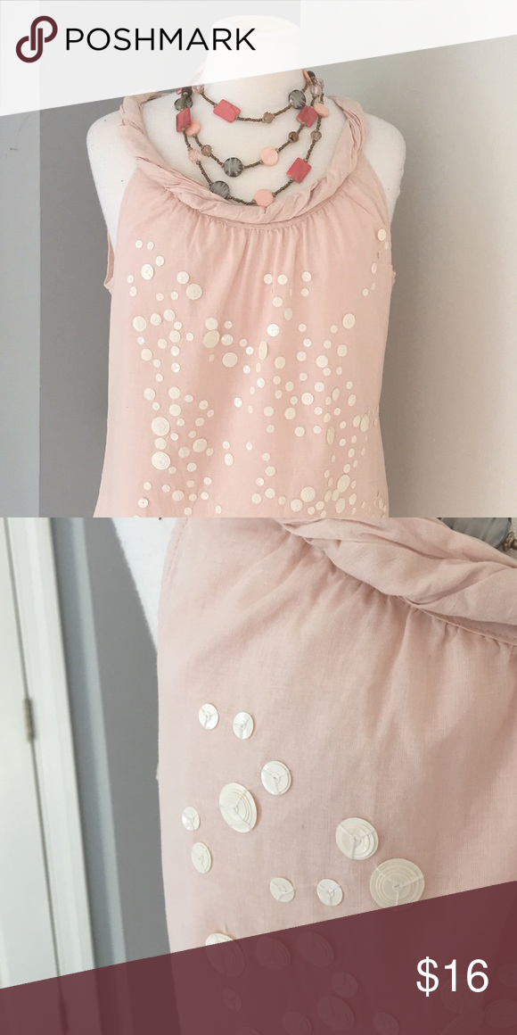395193b676102 Sequin Tank Very cute Ann Taylor Loft tank in light pink with white sequins  - 100% cotton Ann Taylor Tops Tank Tops