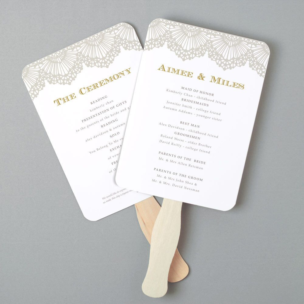 Instant Download DIY Wedding Program Fan Template Lace