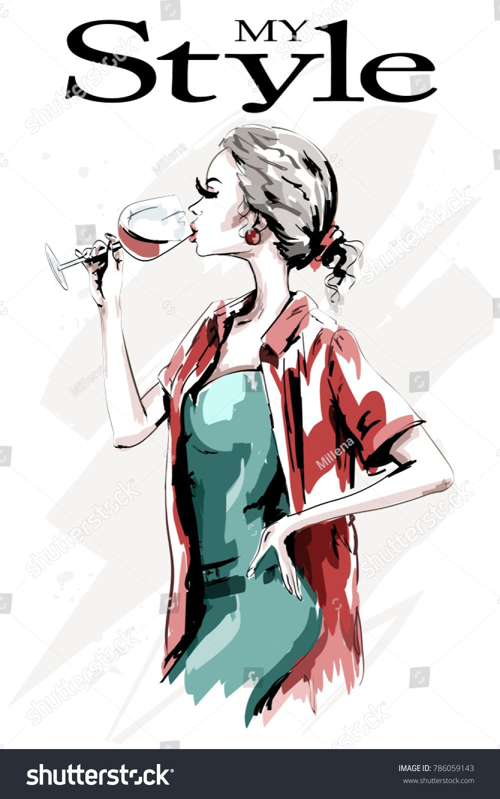 Watercolor Cute Girl With Drink Women/'s Tee Image by Shutterstock