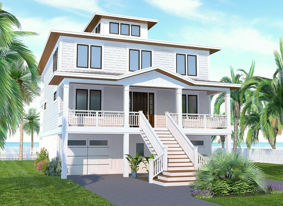 Plan 15222NC Upside Down Beach House with Third Floor