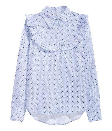 promo code cef14 33295 Bluse mit Volant | Blau/Weiß gestreift | Damen | H&M DE ...