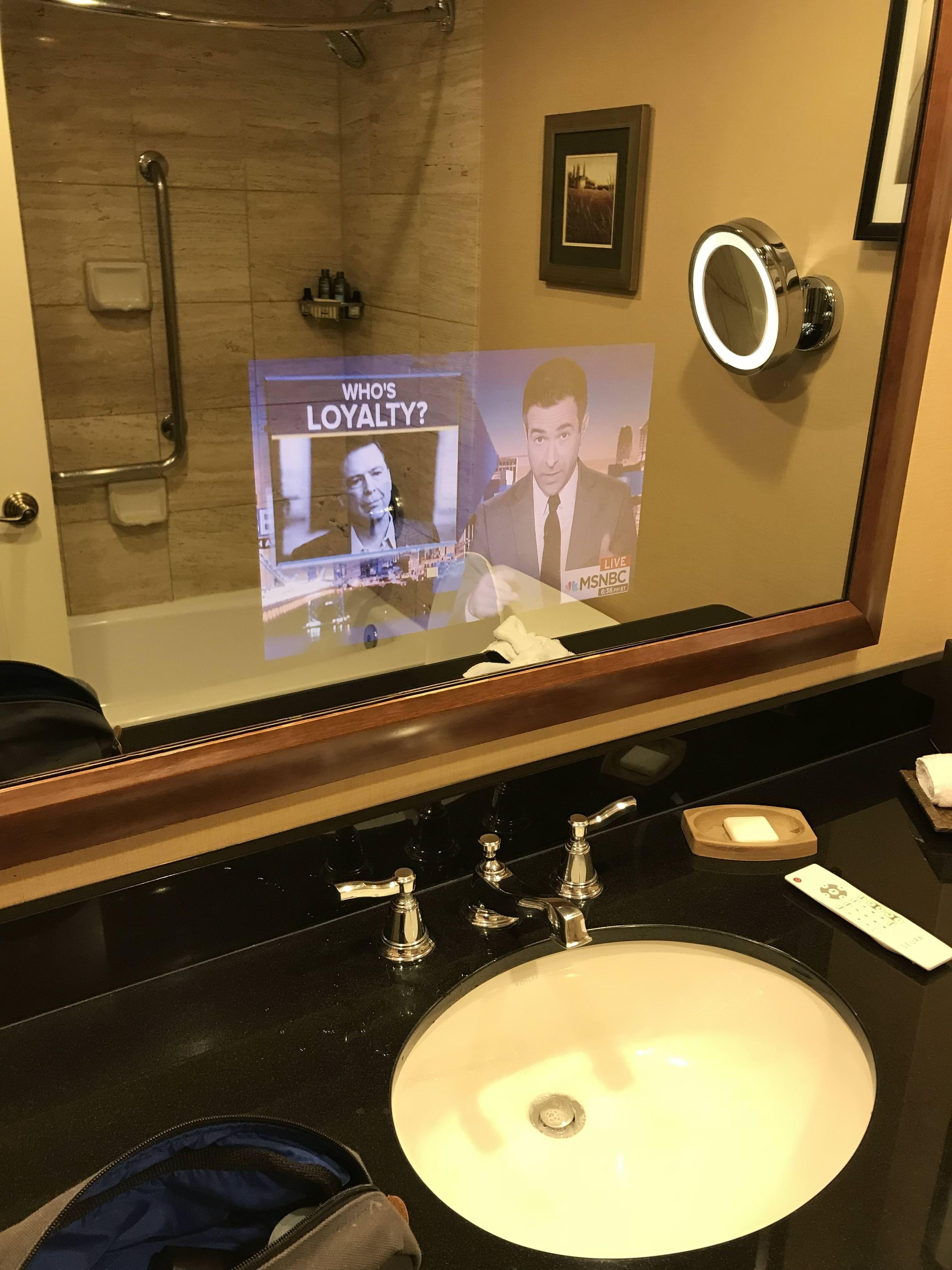 My Hotel Room Has A Tv Inside The Bathroom Mirror Hotels Room Bathroom Mirror Mirror