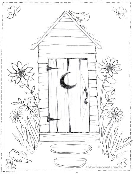Christmas Scene Coloring Page Horse Buggy Country Outhouse Bathroom