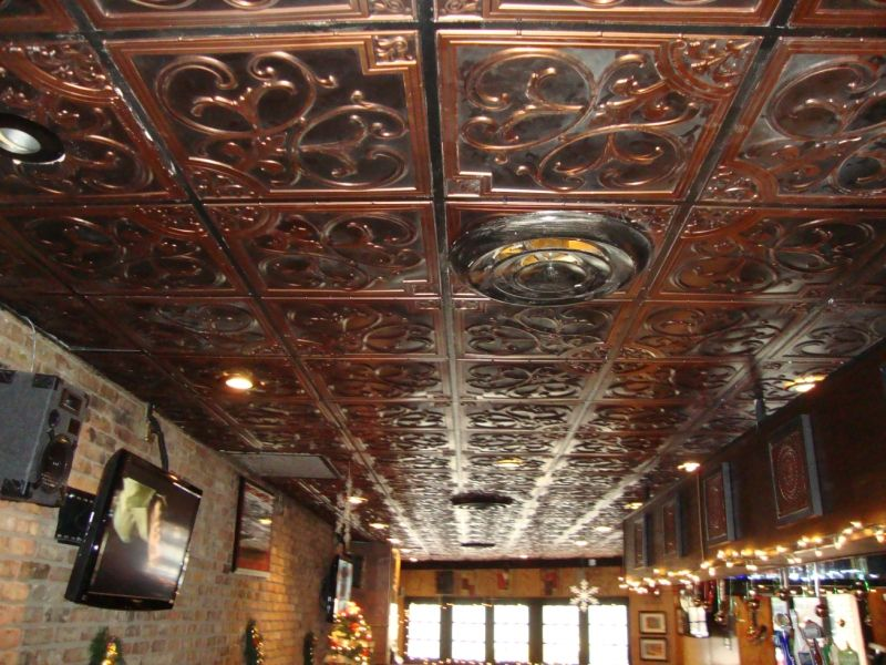 antique copper ceiling tiles installed in a chicago pizza restaurant