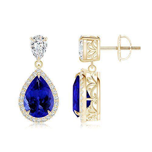 Angara Cognac Diamond Halo Stud Earrings in Yellow Gold HCBUd0n